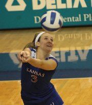 KU's Brianne Riley returns against Missouri on Wednesday, Nov. 2, 2011 at Horejsi Center.