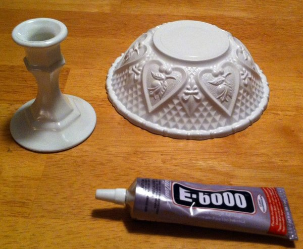 Here are the items you need for the bowl, including E-6000 glue from Walmart ($2.97).