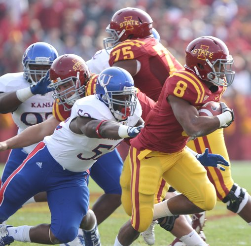 Kansas linebacker Steven Johnson reaches for Iowa State running back James White during the second quarter on Saturday, Nov. 5, 2011 at Jack Trice Stadium in Ames, Iowa.