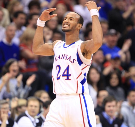 Kansas guard Travis Releford raises the roof at Allen Fieldhouse after a steal and a made bucket by the Jayhawks against Fort Hays State during the first half on Tuesday, Nov. 8, 2011 at Allen Fieldhouse.