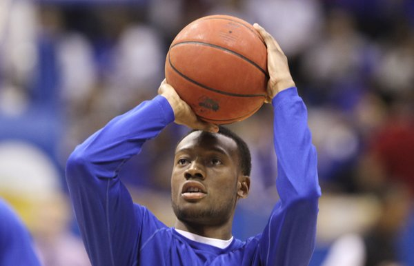 Kansas guard Naadir Tharpe shoots during warmups prior to tipoff against Towson on Friday, Nov. 11, 2011 at Allen Fieldhouse.