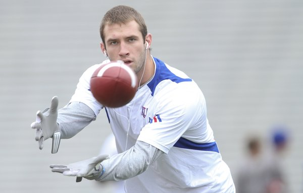 Kansas receiver Kale Pick warms up prior to kickoff against Baylor on Saturday, Nov. 12, 2011 at Kivisto Field.