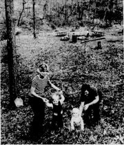 Mrs. Jerry Nossaman, 936 Avalon Road, and son Cael, 1 1/2, share an outing with Mrs. Tom Fisher and daughter Megan, 1, of 1033 Avalon, at Martin Park in November 1971.