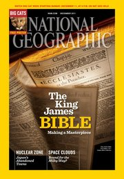 A King James Bible from a collection at Baker University is featured on the December 2011 cover of National Geographic. The bible is part of the university's William A. Quayle Bible Collection.