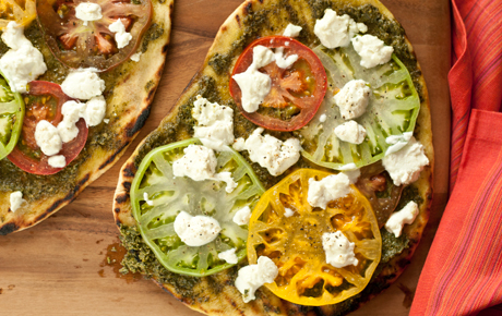 Whole Foods' Grilled Heirloom Tomato and Pesto Pizzas.