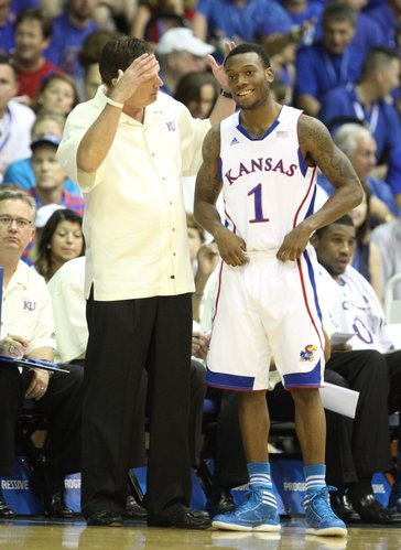 Kansas head coach Bill Self gets at Naadir Tharpe after a turnover during the first half against UCLA on Tuesday, Nov. 22, 2011 at the Lahaina Civic Center.