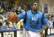 Kansas forward Thomas Robinson runs through warmup drills with the Jayhawks prior to tipoff against Duke on Wednesday, Nov. 23, 2011 at the Lahaina Civic Center.