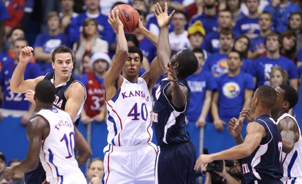 Kansas forward Kevin Young comes away with a rebound against Florida Atlantic during the first half on Wednesday, Nov. 30, 2011 at Allen Fieldhouse.