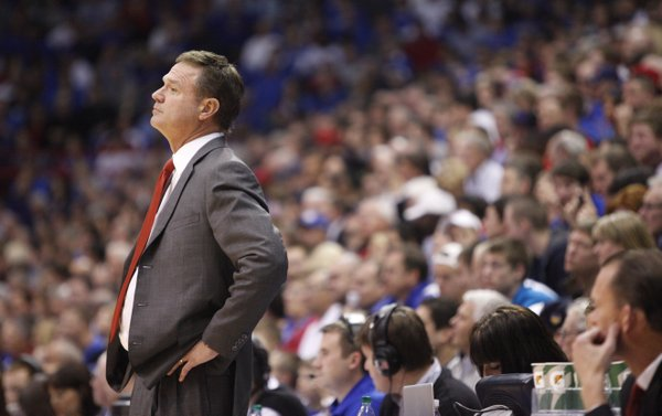 Kansas head coach Bill Self looks on from the sidelines during the second half on Wednesday, Nov. 30, 2011 at Allen Fieldhouse.