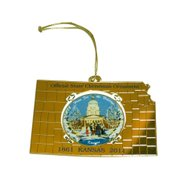 The official state ornament, once again created and donated by Anita Wolgast of Topeka, will hang on the Kansas state tree at the White House. There are 13 copies of the brass ornament, each featuring an image of a snowy day at the Kansas Capitol by late Kansas artist Ernst Ulmer; it's the same image that had been featured on the state's official ornament back in 1986.