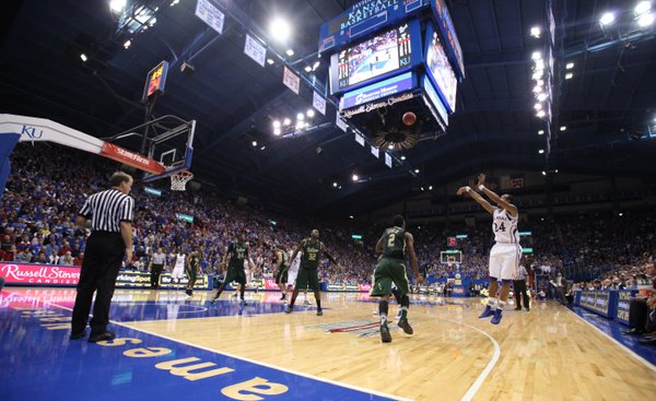 Kansas guard Travis Releford puts on a three from the wing against South Florida during the second half on Saturday, Dec. 3, 2011 at Allen Fieldhouse.