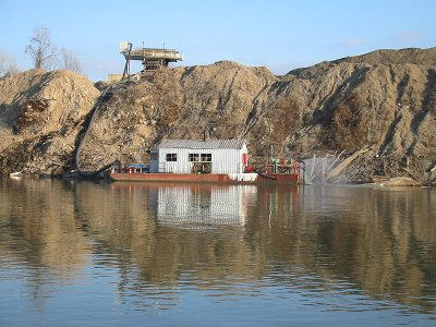Dredging operation on the Kansas River owned by Kaw Valley Companies, one of the companies seeking expansion.