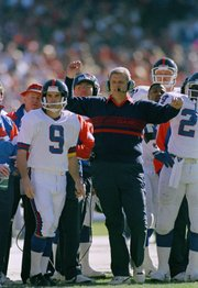 New York Giants coach Bill Parcells reacts to broken up touchdown pass in first quarter of NFC championship game with the San Francisco 49ers at Candlestick Park in San Francisco Sunday, Jan. 20, 1991. Left is kicker Matt Bahr. New Kansas University coach Charlie Weis was part of Parcells' staff with the Giants.