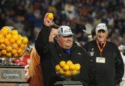 KU football coach Mark Mangino celebrates after the Jayhawks won the Orange Bowl on Jan. 3. Mangino went 50-48 from 2002-2009.