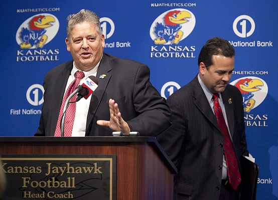 Charlie Weis makes an opening statement after being introduced by Kansas University athletic director Sheahon Zenger during a news conference Friday in which Weis was announced as the new head football coach.