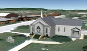 Former Tonganoxie resident Cody Edwards created three-dimensional images of many city structures, including this one of the Tonganoxie Congregational Church and Tonganoxie Elementary School before moving to Colorado in November. His work can be viewed on Google Earth or Google Maps.