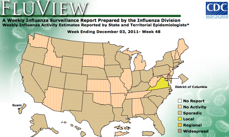Here's a picture of the CDC's flu map for Dec. 3, 2011.