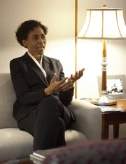 Kansas University Chancellor Bernadette Gray-Little talks with the Lawrence Journal-World on Monday, Dec. 12, 2011 in her office at Strong Hall. The Chancellor hopes to receive a positive response from regents when she proposes the school&#39;s long-range points for improvement. 