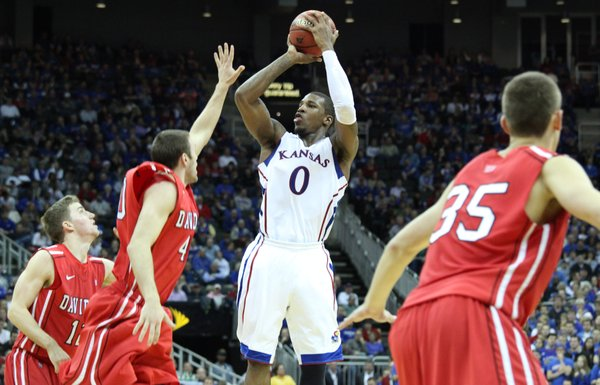 Thomas Robinson pulls up for a jumper against Davidson in the second half Monday, Dec. 19, 2011 at Sprint Center in Kansas City, Mo.