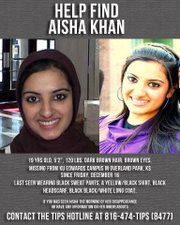 A flier posted on a Facebook page dedicated to finding Aisha Khan, a 19-year-old Johnson County Community College student who disappeared from the Kansas University Edwards Campus.