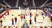 The Kansas Jayhawks warm up prior to tipoff against USC on Thursday, Dec. 22, 2011 at the Galen Center in Los Angeles, Calif.