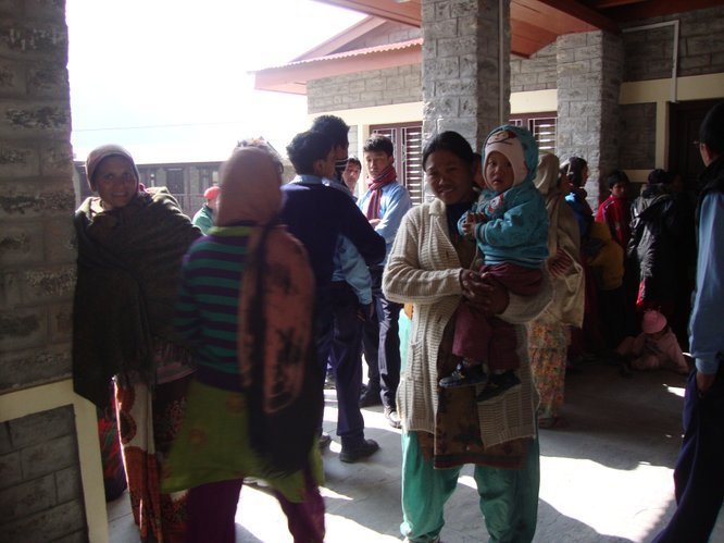 Patients await free medical care in the Tukche village of Nepal. A medical mission trip was organized by Lawrence resident Subarna Bhattachan through the Kansas City-based World Outreach Foundation.