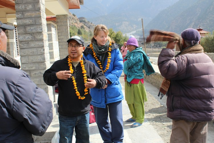 Subarna Bhattachan and his wife, Amanda, of Lawrence, arrive at the Tukche village health clinic in the Mustang District of Nepal on Nov. 2, 2011. They were greeted by village leaders and were part of a medical mission team that provided care to rural, poor residents. Nepal is Subarna's native country and he coordinated the medical mission trip.