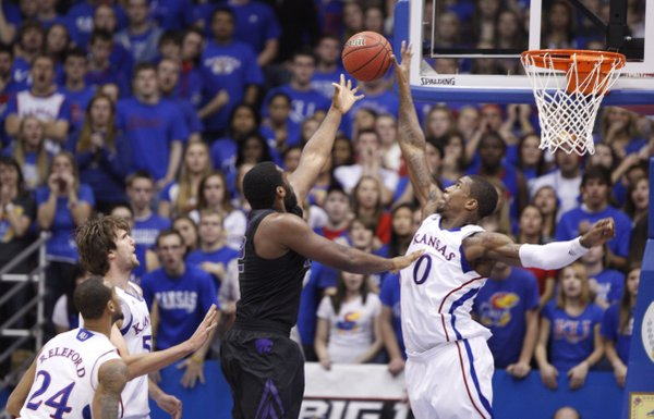 Kansas forward Thomas Robinson rejects a shot by Kansas State forward Thomas Gipson during the first half on Wednesday, Jan. 4, 2012 at Allen Fieldhouse.