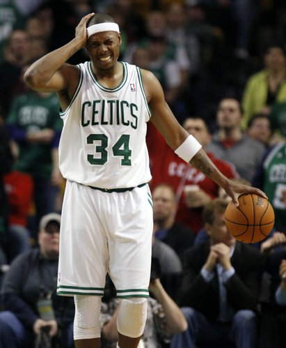 Boston Celtics' Paul Pierce (34) reacts after being called for a foul in the fourth quarter of an NBA basketball game against the Indiana Pacers in Boston, Friday, Jan. 6, 2012. The Pacers won 87-74.