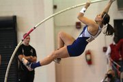 Kansas University pole vaulter Julia Cummings competes in the Bill Easton Classic on Saturday at KU's Anschutz Sports Pavilion.