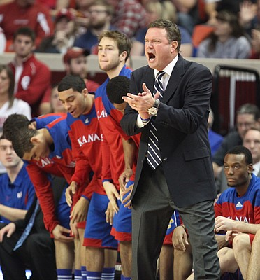 Kansas head coach Bill Self gets fired up on the sideline during the first half against Oklahoma on Saturday, Jan. 7, 2012, at Lloyd Noble Center.
