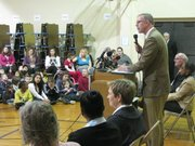 House Democratic Leader Paul Davis of Lawrence speaks Tuesday at Lowman Hill Elementary in Topeka. Democrats unveiled their school finance plan to counter one by Gov. Sam Brownback.
