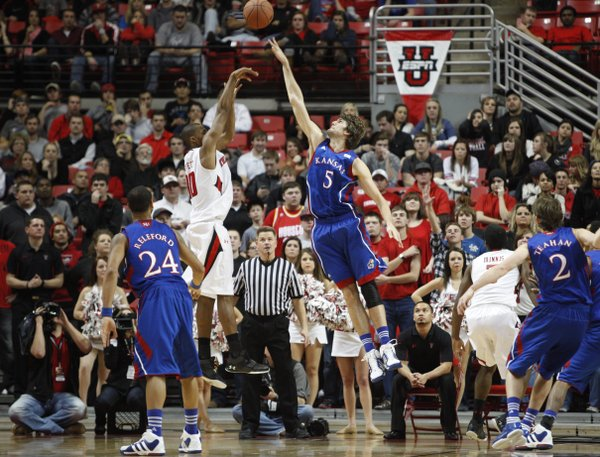 Kansas center Jeff Withey gets up to block a shot by Texas Tech forward Jaye Crockett during the first half Wednesday, Jan. 11, 2012, at United Spirit Arena.