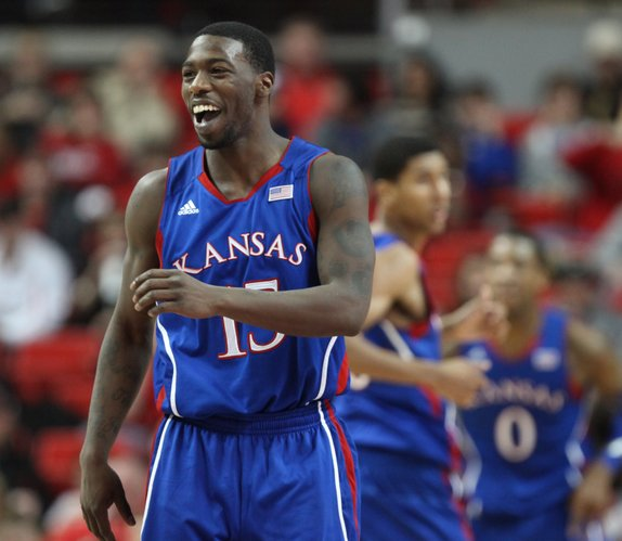 Kansas guard Elijah Johnson flashes a smile during a Jayhawk run against Texas Tech during the second half Wednesday, Jan. 11, 2012, at United Spirit Arena.