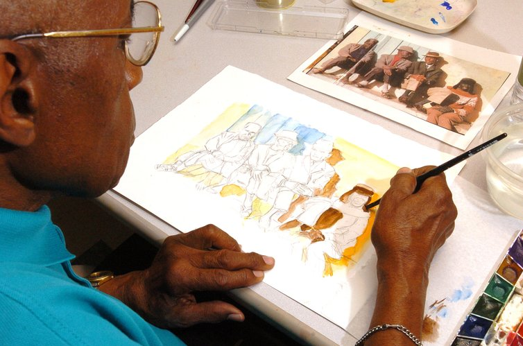 "Jim Lash, 83, paints during the Memories in the Making art program, an exclusive program of the Alzheimer's Association at Aspen Village at Lowry in Denver Friday, June 26, 2006. A small study last year of 12 people, ages 65 to 85, found that weekly sessions helped Alzheimer's patients focus their attention for 30 to 45 minutes and that completing artwork brought them ""pleasure and satisfaction."" Memories in the Making began in 1988 in Orange County, Calif. There are now dozens of chapters in 26 U.S. states and experts say the artwork has provided an extraordinary outlet for Alzheimer's patients."