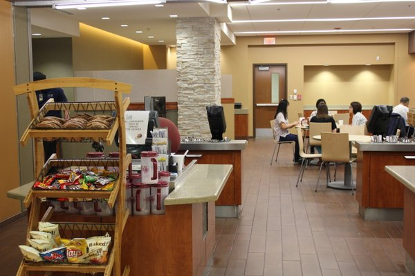 The dining area at Lawrence Memorial Hospital recently received a complete makeover. The area opens up to the atrium.