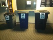 Possible sizes of carts on display at City Hall Thursday as part of a public comment session about a draft to overhaul the city's trash and recycling services. Two dozen Lawrence residents addressed the city's Solid Waste Task Force Thursday. Another meeting is set for 6 p.m., Jan. 26, location to be announced.