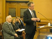 KU School of Pharmacy Distinguished Professor Val Stella speaks Thursday to Senate Commerce Committee.