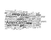 A word cloud of the president's speech. The larger a word is, the more frequently it was used.