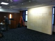Workers were just finishing up on Tuesday at the newly-renovated Alderson Auditorium in the Kansas Union.