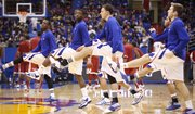The Kansas guards stretch out prior to tipoff against Oklahoma on Wednesday, February 1, 2012 at Allen Fieldhouse.