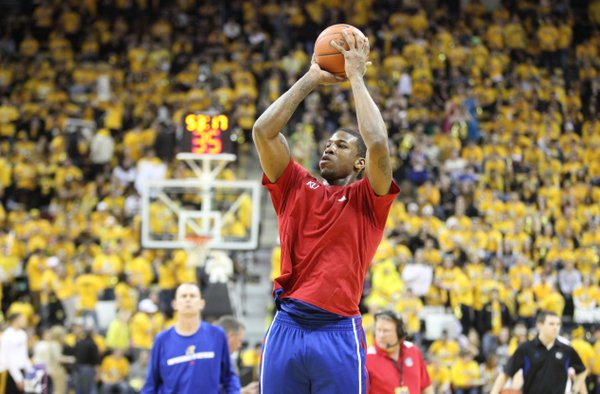 Kansas forward Thomas Robinson warms up with the Jayhawks before a packed Missouri student section prior to tipoff on Saturday, Feb. 4, 2012 at Mizzou Arena.