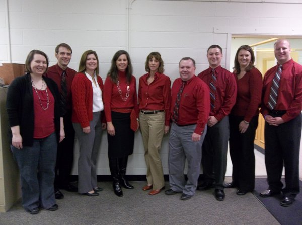 From left are: Candace Moore, Adrian Jacobs, Shaun Musick, Alice Brewer, Constance Wolfe, Jeff Cuttell, Randy Mushrush, Jenny Herrick and Nick Adams, all from the advertising department.