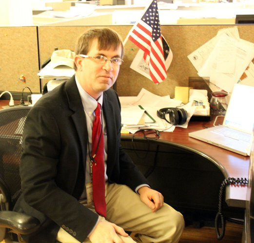 Veteran reporter Chad Lawhorn was sporting a red tie on Friday.