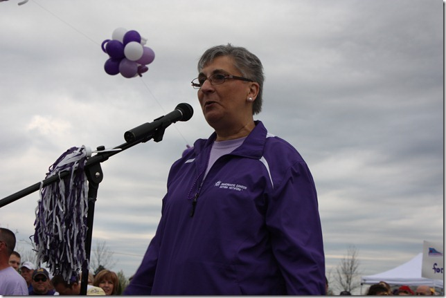Karen Kopp, of Kansas City, Mo., a pancreatic cancer survivor, speaks during the inaugural PurpleStride 5K event last spring in Leawood. She was among 1,100 people who participated in the Pancreatic Cancer Action Network event which raised $100,000 for research and to help support patients and their caregivers. This year's event will be April 21 in Overland Park.