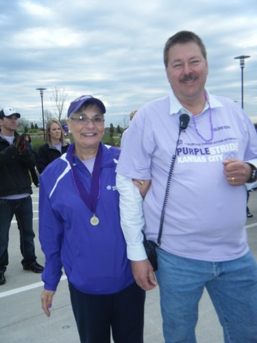 Karen Kopp and her husband, Bob, of Kansas City, Mo., participate in the Pancreatic Cancer Action Network's inaugural PurpleStride 5K event last spring in Leawood. They were among 1,100 people who participated in the event, which raised $100,000 for research and to help support patients and their caregivers. Karen Kopp was diagnosed with cancer in 2009 and is currently battling the disease for the third time.