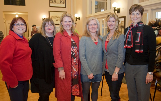 These Lawrence residents were honored during the WellCommons open house and celebration on Friday, Feb. 3, 2012. From left are: Janice Early, of Lawrence Memorial Hospital, Megan Stuke, Cindy Hart, Linda Cottin, Carrie Mandigo and Marilyn Hull.