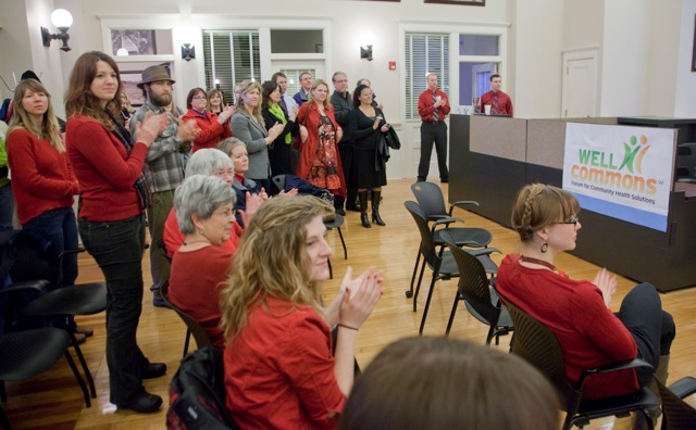 About 50 people attended an open house and celebration for WellCommons on Friday, Feb. 3, 2012, in the News Center, 645 N.H.