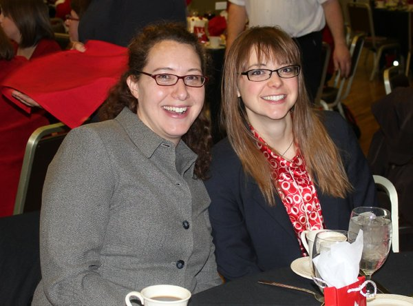 Lawrence Journal-World reporter Christine Metz and Go! editor Katie Bean attend the Go Red For Women Luncheon and Expo on Feb. 10, 2012, in the KU Memorial Union.