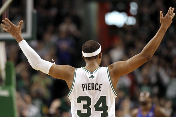 Boston Celtics' Paul Pierce celebrates during the second half of Boston's 91-89 win over the New York Knicks in an NBA basketball game in Boston Friday, Feb. 3, 2012.
